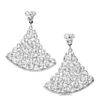 Excellent intricate silver crystal chandelier earring china