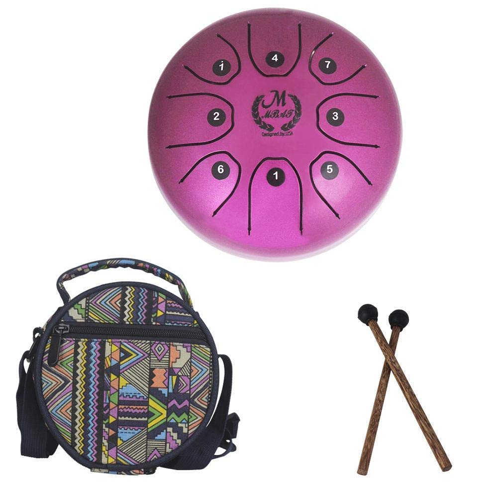 LianLe 5.5 Inch Mini Steel Tongue Drum Hand Drum Percussion Instrument with Drum Mallets Carry Bag and Drum Stick,Brahma Drum for Camping, Yoga, Meditation, Music Therapy