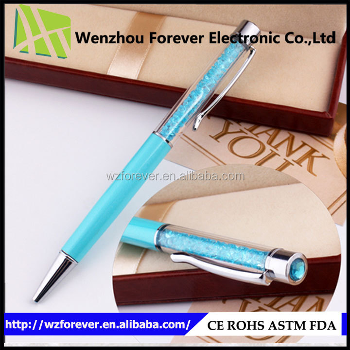 2016 Hot Selling Luxurious Blink Diamond Crystal Free Ball Pen Sample