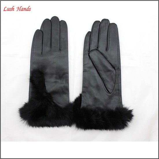 Women's Silk Lined Hairsheep Leather Gloves with Fur Cuffs