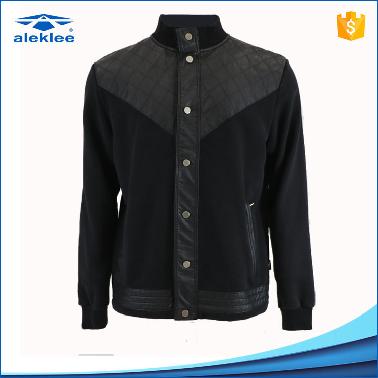 Windproof Long Sleeve custom 65% Cotton 35% Polyester pu leather jacket for men
