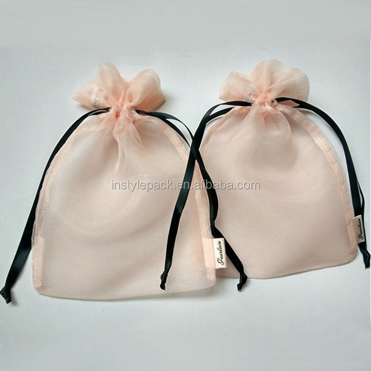 Factory Supply Elegant Cosmetic Gift Drawstring Organza Pink Pouch Bag