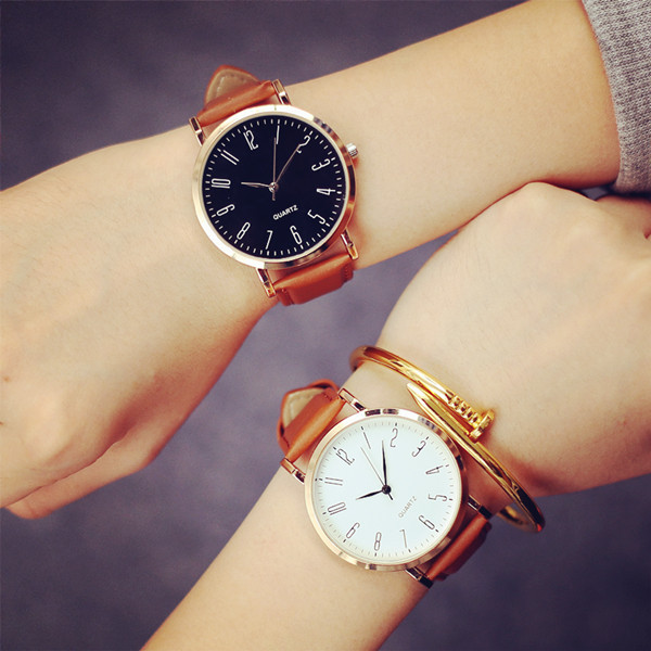 2017 Unisex Fashion Watch Men Women Couple Watches Leather Quartz Wrist Watch Casual Design Ladies clock