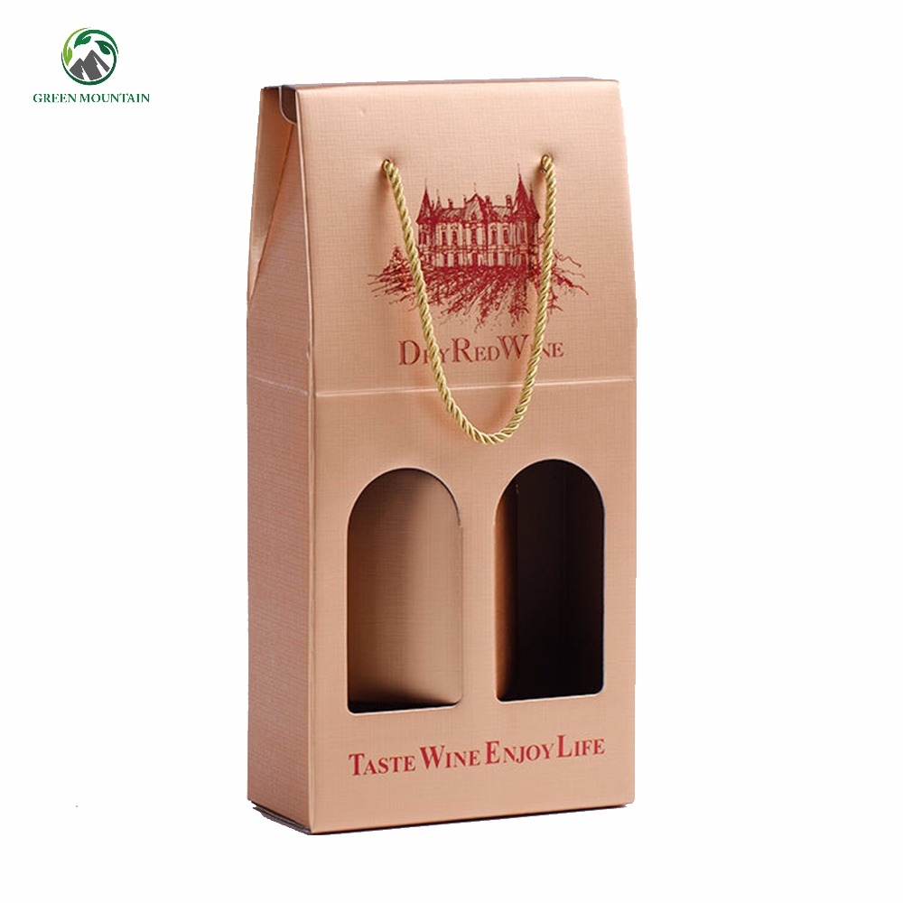 Cheap price Corrugated single and double wine gift box Full color printed custom brand name kraft paper carrier wine box