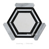 new design hexagon 1.5mm joint china white marble mix china venato mix Nero marquina marble pembroke stone mosaic tile