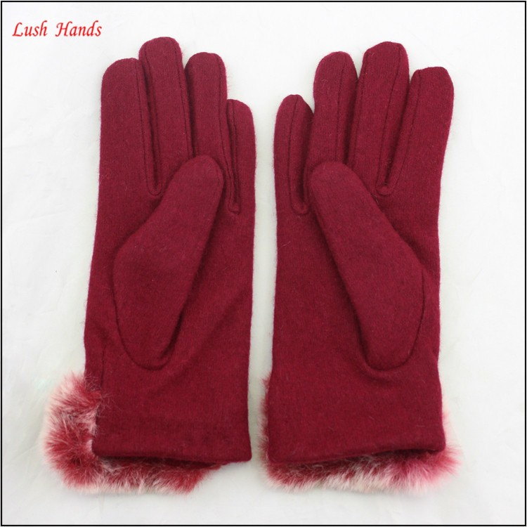 ladies winter warm red woolen hand gloves with fur