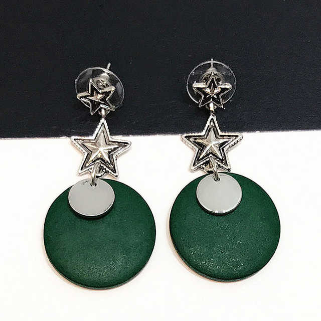 High quality attractive geometric round green wooden stud earrings