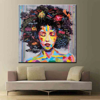 Colorful Graffiti Street Wall Art Abstract Modern African Women Portrait Canvas Oil Painting On Prints