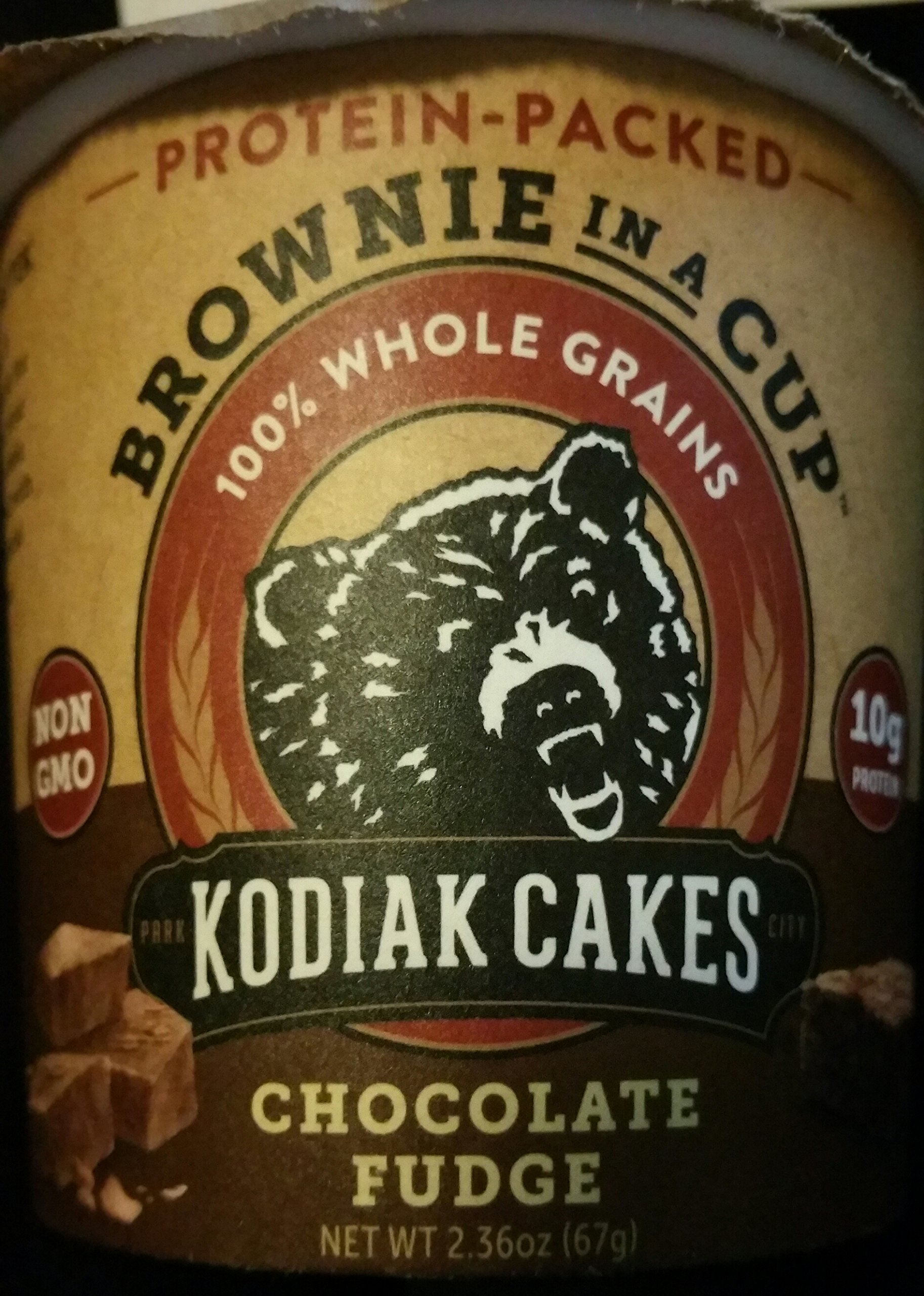 Kodiak Cakes Protein- Packed BROWNIE IN A CUP 100% Whole Grains Chocolate Fudge (1-CUP) (NET WT 2.36 OZ)