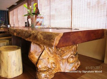 One Piece Solid Golden Teak Wood Table Top #6