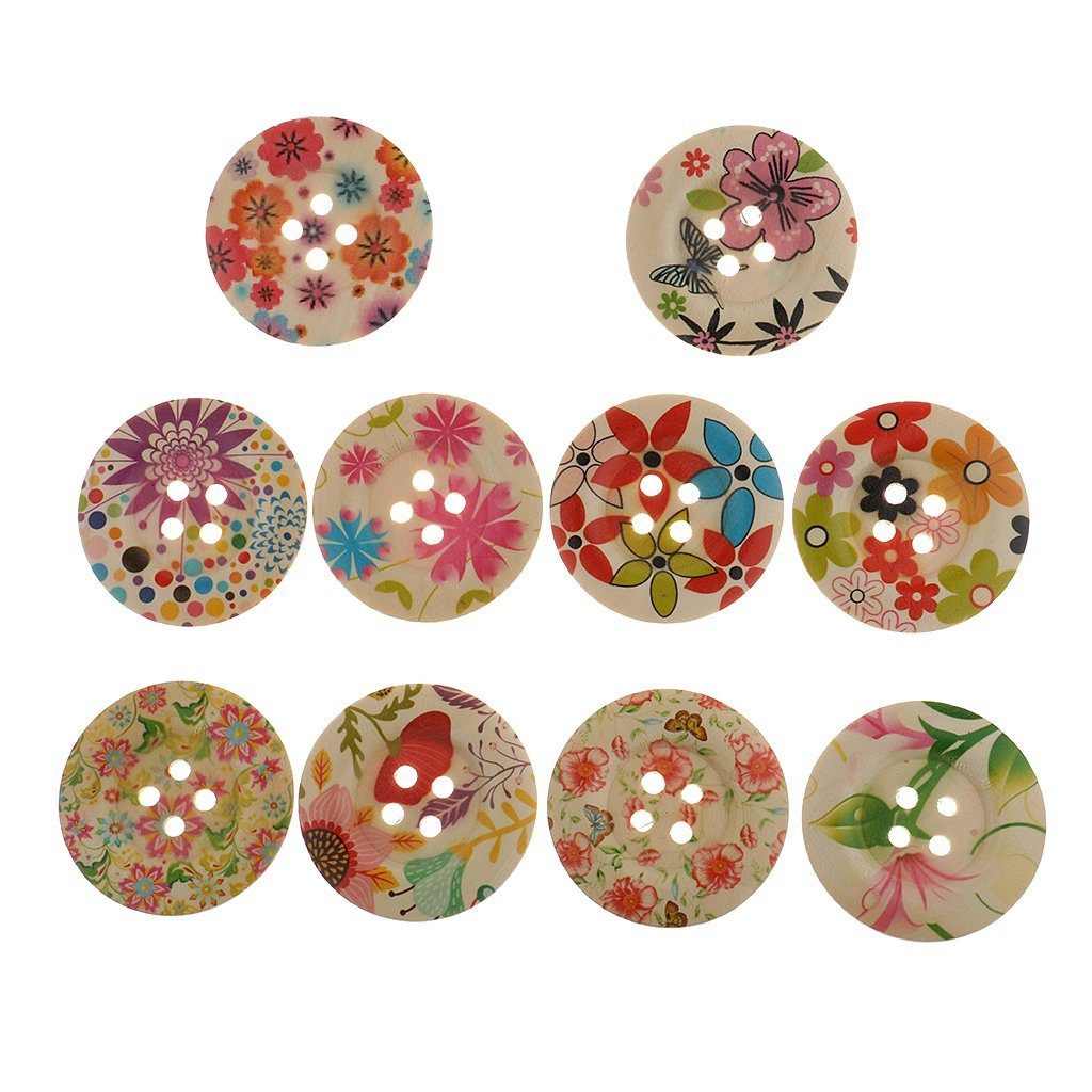 Jili Online 10 Pieces Assorted Wooden Flower Decorative Buttons Scrapbooking Embellishment Sewing Clothes Buttons 50mm