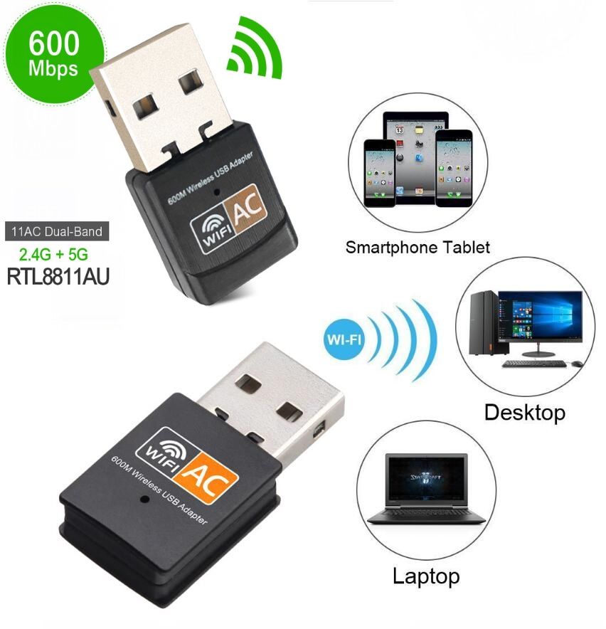 600Mbps USB Wireless WiFi Adapter 2.4Ghz 5Ghz WiFi with Antenna Dual Band PC Mini Computer Network Card Receiver 802.11B//N//G//Ac