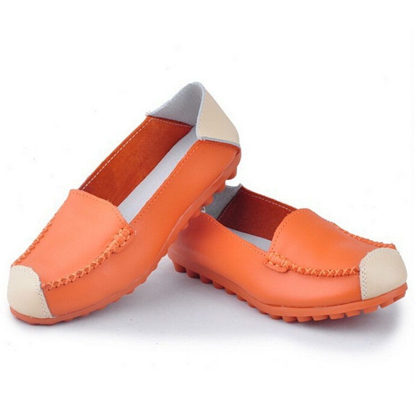 New 2015 women genuine leather shoes slip on women flats soft leather loafers moccasins woman casual sapatos femininos shoes