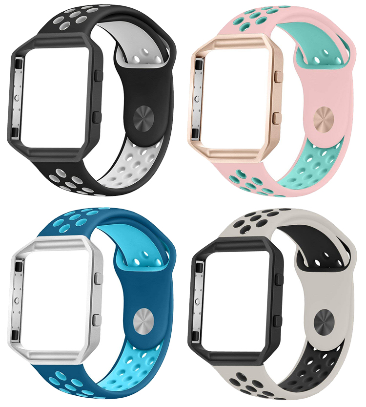 Silicone Replacement Bands Compatible for Fitbit Blaze, Soft Sport Strap with Metal Frame for Fitbit Blaze Small Large
