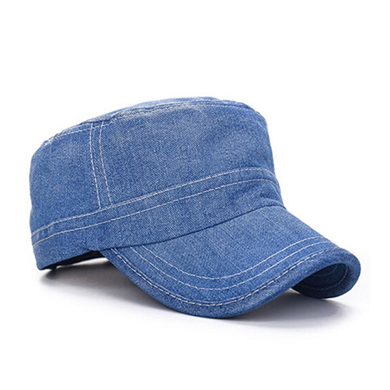bcbe8f04b40 Custom Plain Denim Flat Top Jeans Cap Military Hats Wholesale - Buy ...