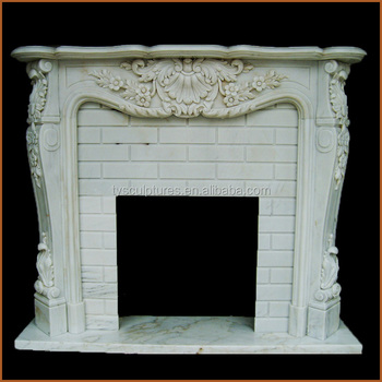 Beautiful Modern Carved Fireplace Mantel Used White Marble Stone Indoor Decoration For