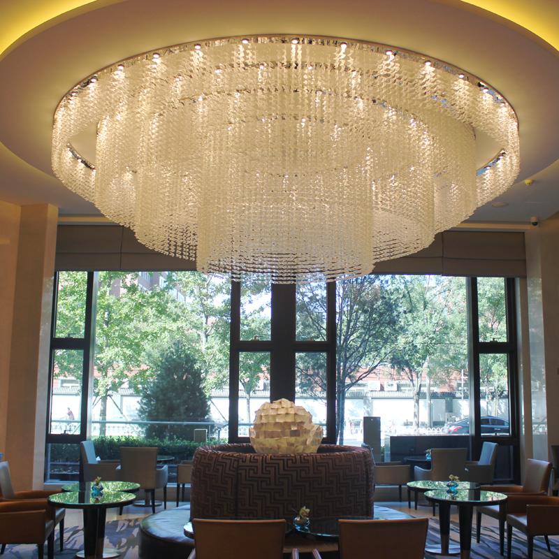 Custom Modern Flush Mount Ceiling Light Luxury Hotel Lobby Pendant Crystal Chandelier Lamp Lighting Chanderlier