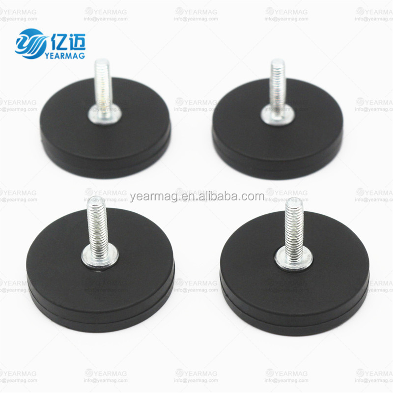 D31mm neodymium rubber coated pot magnet internal/external thread, magnetic base mount holder with rubber covering