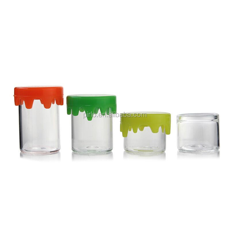 2ml 3ml 4ml 6ml 8ml 10ml factory price clear glass jar with silicon drippy top lid