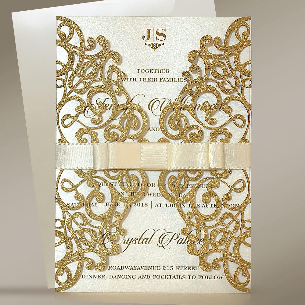shine glitter laser cut elegant shimmer wedding invitations view