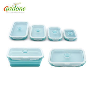 Heated silicone food container kids silicone folding lunch box
