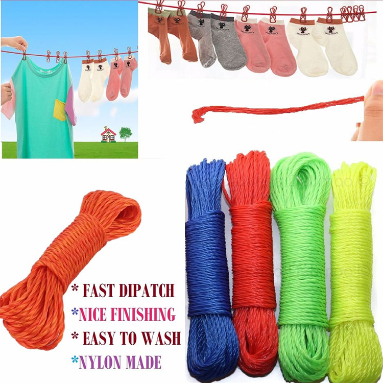 10m PVC Rope With Metal Steel Core Clothes Laundry Washing Line Garden Blue