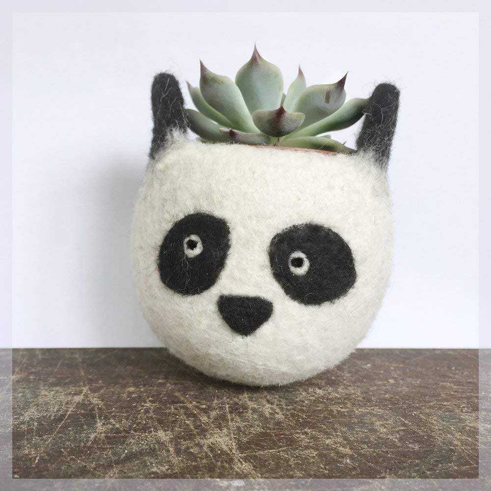 Felt succulent planter/panda planter/cactus planter/gift for her/desk decoration/succulent lover/cute cactus planter