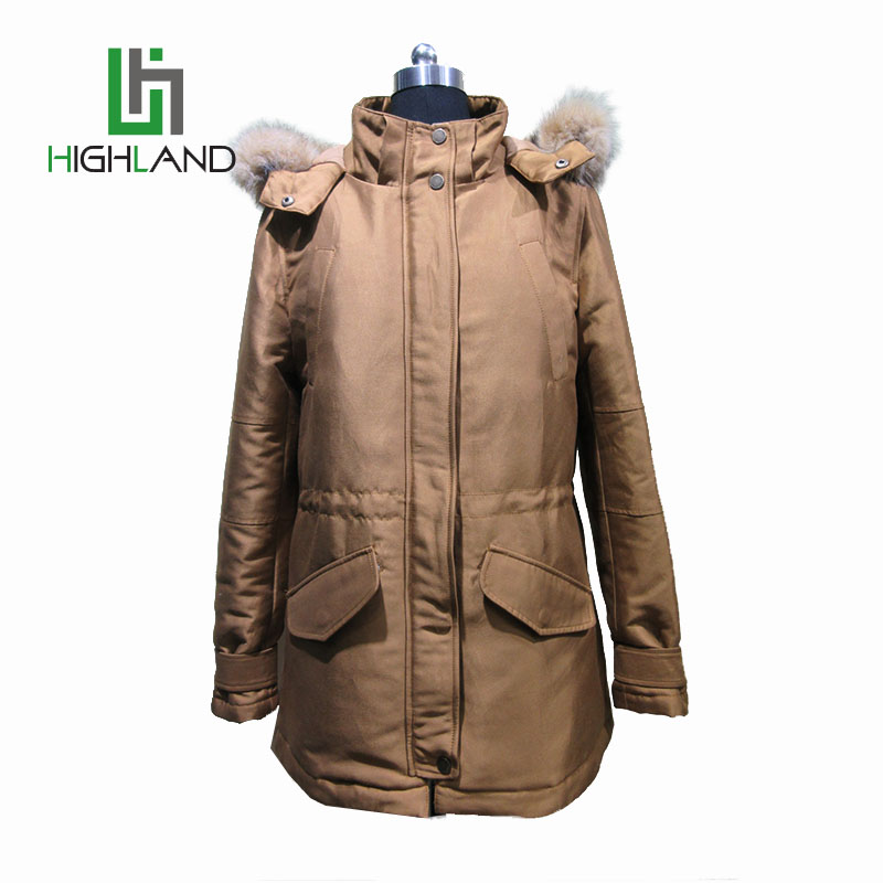 Cheap wholesale latest brown denim winter coat with long back zip women hooded fur parka coat