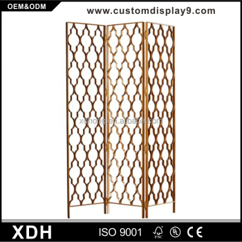 Elegant 3 Panel Folding Screen Metal Gold Laser Cut Room Divider