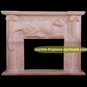 panther marble effect fireplace pink mountain cat marble stone effect fireplace