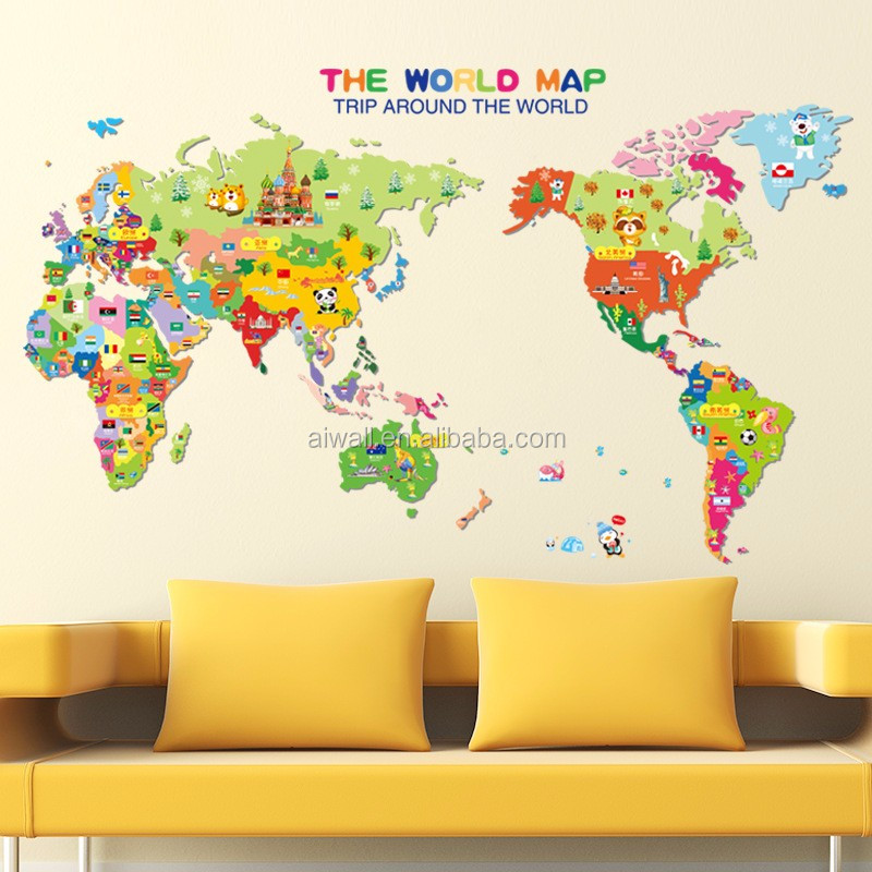 7123 High Quality World Map Wall Sticker,Decal Printing,Graphic ...