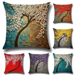 2018 fashion unique promotional European home decor tree flora painting 3d print art sofa cushion