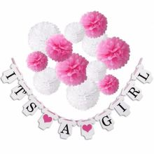 It's a Girl Decorations Konsait Bunting Banners Tissue Paper Flower Pom Poms Pink White Party Decoration