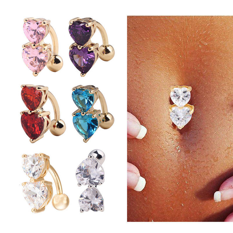 Fashion Jewelry Crystal Heart Pendant Charm On A Clear Crystal Surgical Steel Belly Navel Bar Body Jewelry