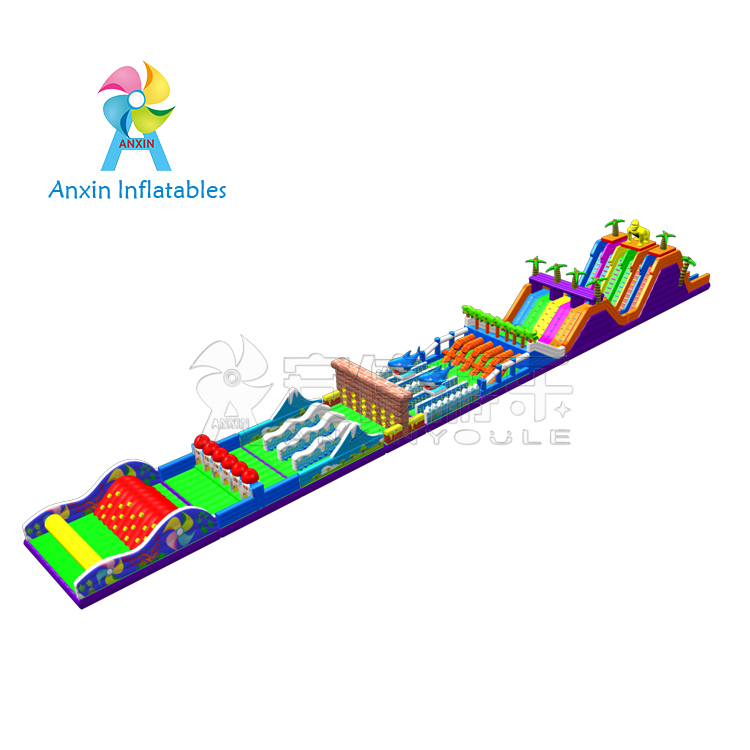 Kids and adult play mega inflatable obstacle course challenge for party rental