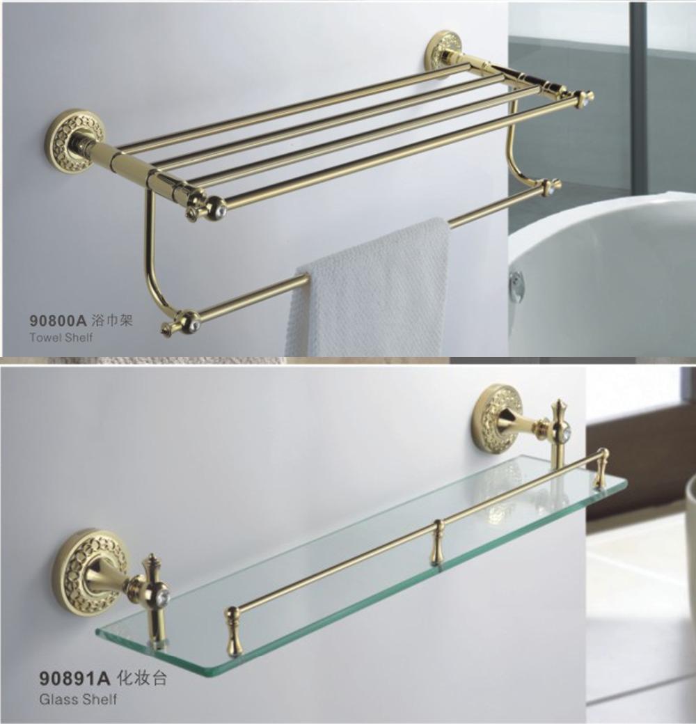 Gold Plating Brass Bathroom Accessories Set 6 Pieces Towel Rack Towel Bar Robe Hooks Buy Towel