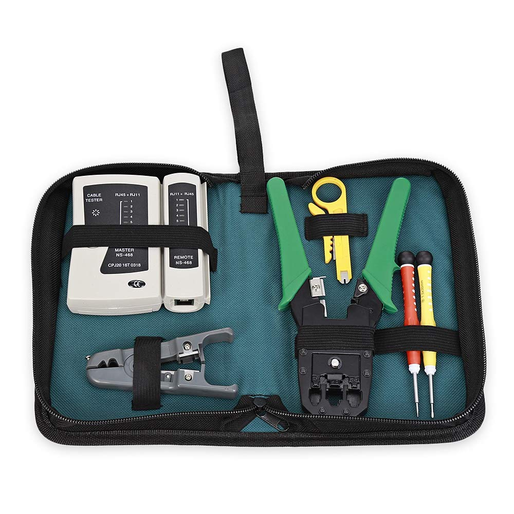 6 in 1 Network Maintenance Computer Repair Tool, Professional Network Installation Tool Kits, Network Cable Repair Tool Bag Kit
