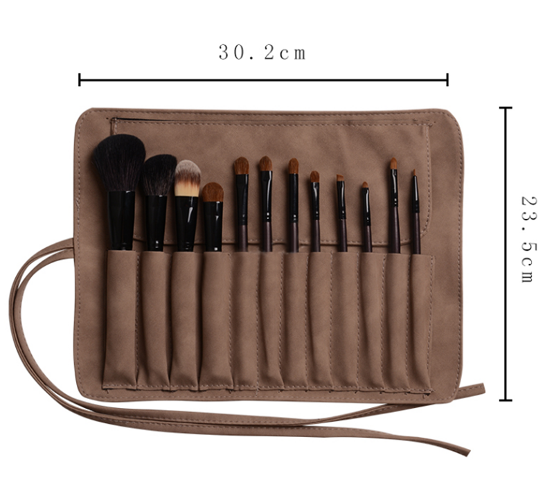 12 pcs goat and pony hair natural bristle makeup brushes set with leather cloth roll bag