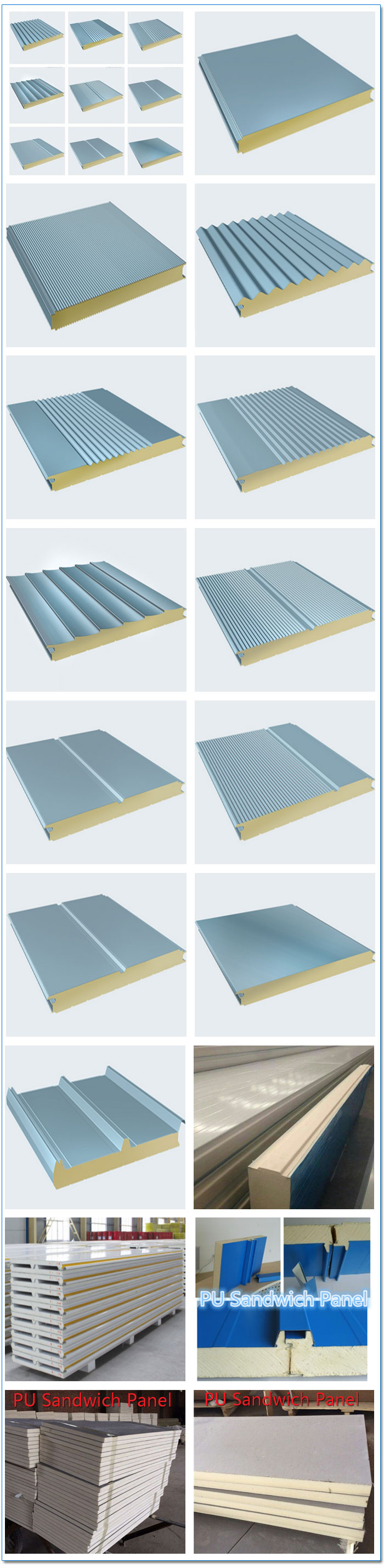 China Easy Installation Pu Sandwich Panel Smooth Sandwich Panel ...