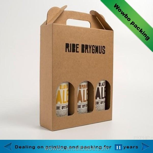 brown 3 bouteilles carton bo te d 39 emballage de vin avec poign e caisses d 39 emballage id de. Black Bedroom Furniture Sets. Home Design Ideas