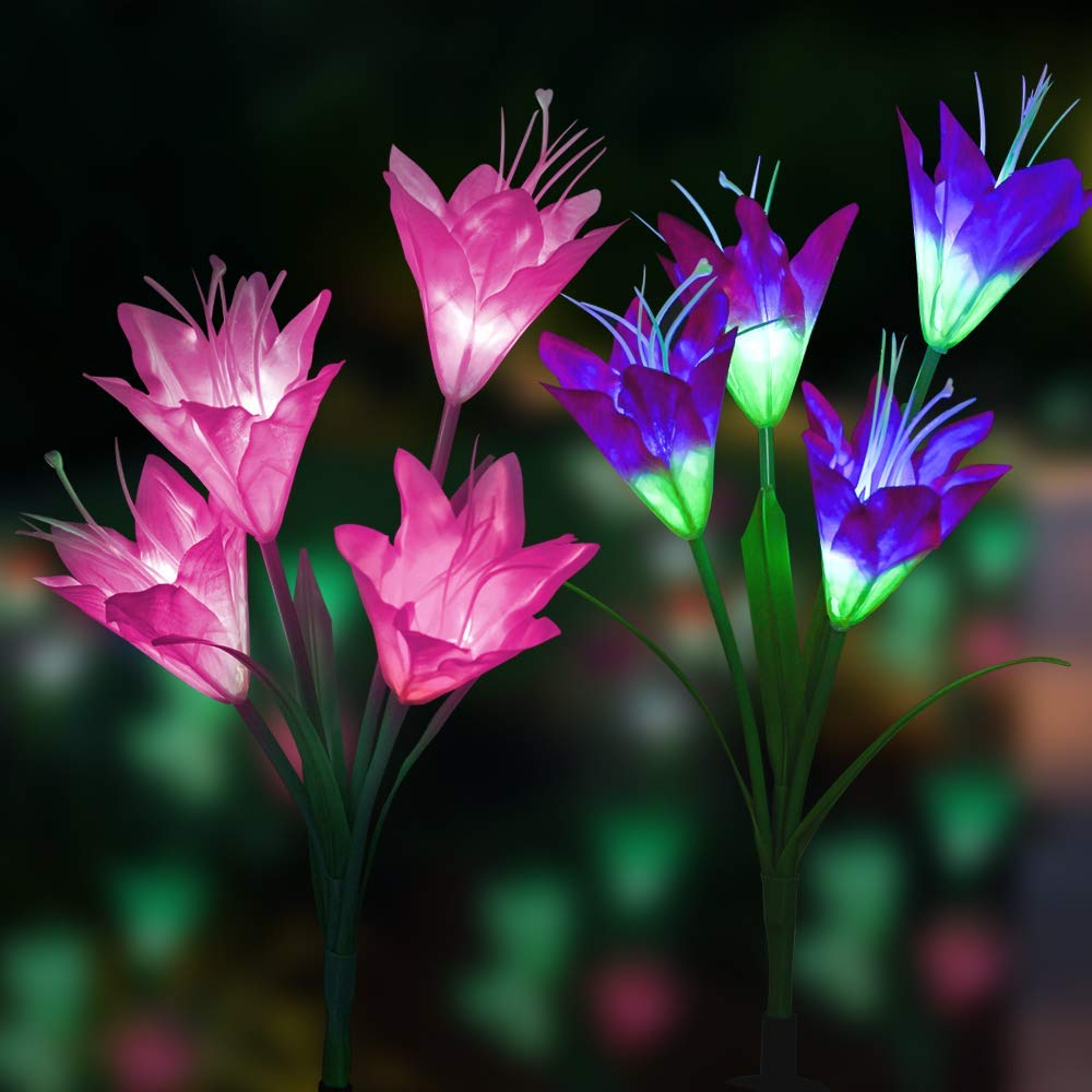 Outdoor Solar Garden Stake Lights,Mopoin 2 Pack 8 Lily Flower Solar Powered Lights,Multi-Color Changing LED Decorative Lights for Garden, Lawn, Patio, Backyard (Purple and White)