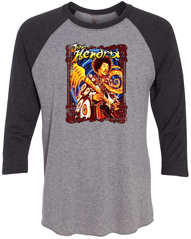 b72000b3e17 Get Quotations · Buy Cool Shirts Mens 3 4 Sleeve Jimi Hendrix colorful  Classic Rock Tee Shirt