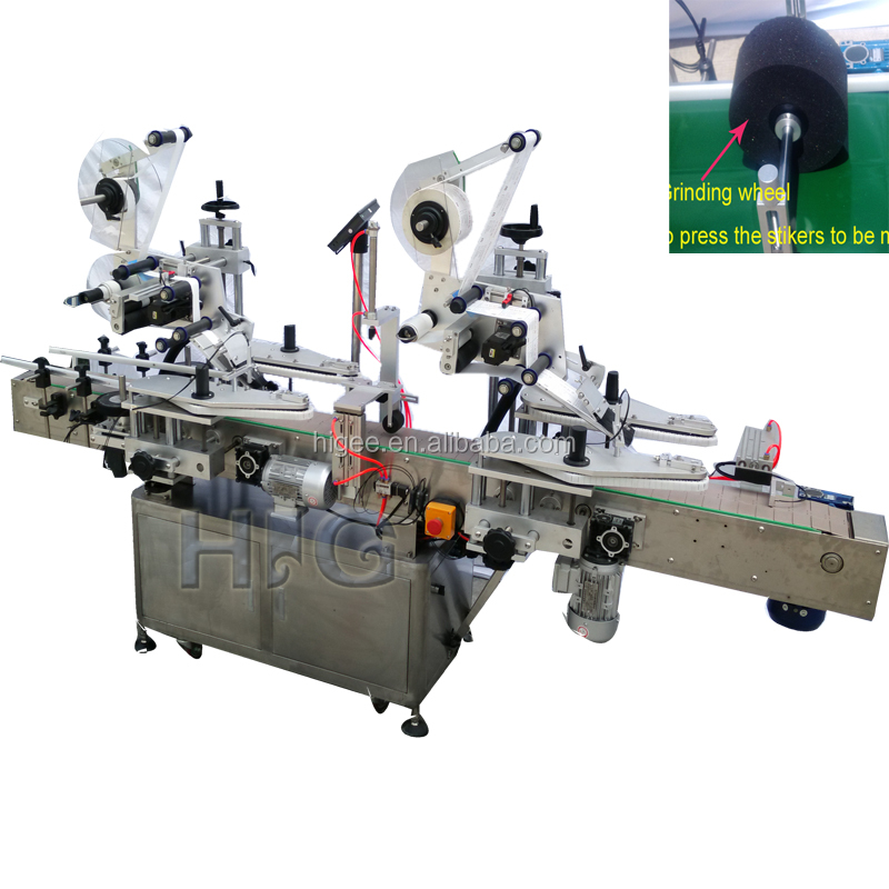 HIG automatic top side flat surface Labeling Machines manufacturer from China with one or two labels, cap lid labeling equipment