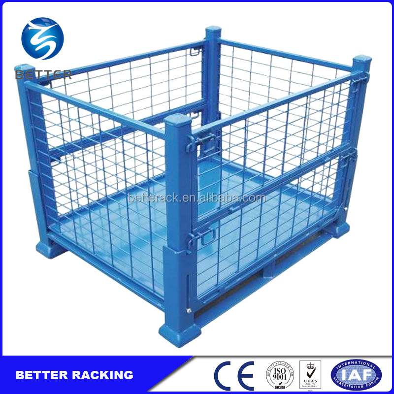 Collapsible Warehouse Metal Bin Storage Container Wire Mesh Cage ...