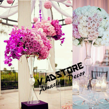 60cm Headstand Clear Trumpet Glass Vase Wedding Table Centerpiece