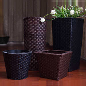 Plastic woven flowerpot and plant pots for home and garden