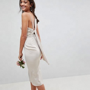 OEM wholesale satin pencil midi dress with tie back dresses women party sexy