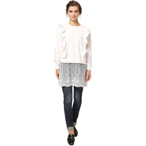 OEM Women Ruffles Long Sleeve Patchwork Lace Blouse