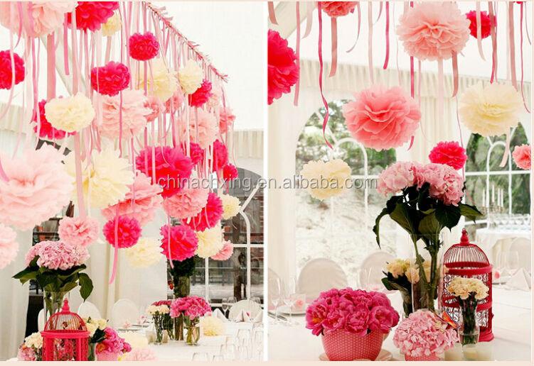 20 inch 50cm paper pom poms flower patterns for wedding for Baby shower stage decoration