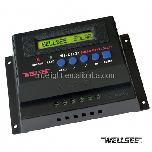 12v/24v 20A 25A 30A optional solar charge controller wellsee WS-C2430 solar street light controller with led driver